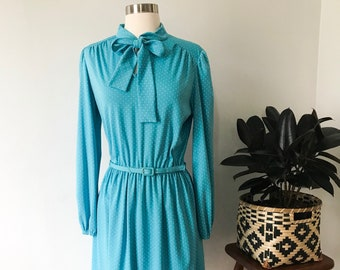 Vintage | Toni Todd 1970's | Baby Blue Polka Dot Dress | Tie Neck Top | Mid-Length | Womens Vintage Dress | Retro Vintage