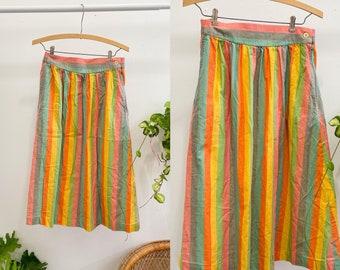 Vintage rainbow striped maxi skirt retro colorful long