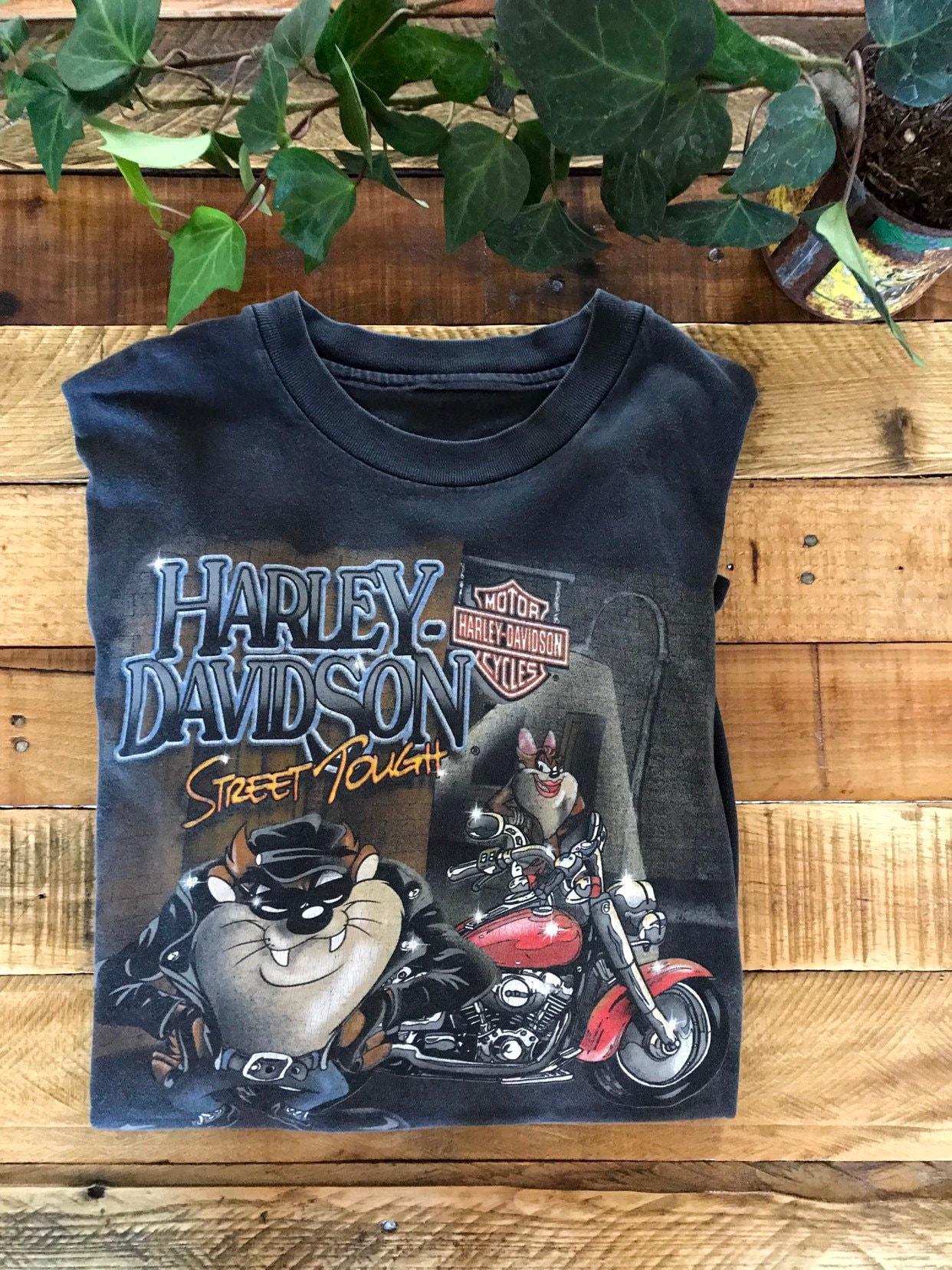 Vintage Taz Harley Davidson Mens Tshirt Size Lxl Street Etsy