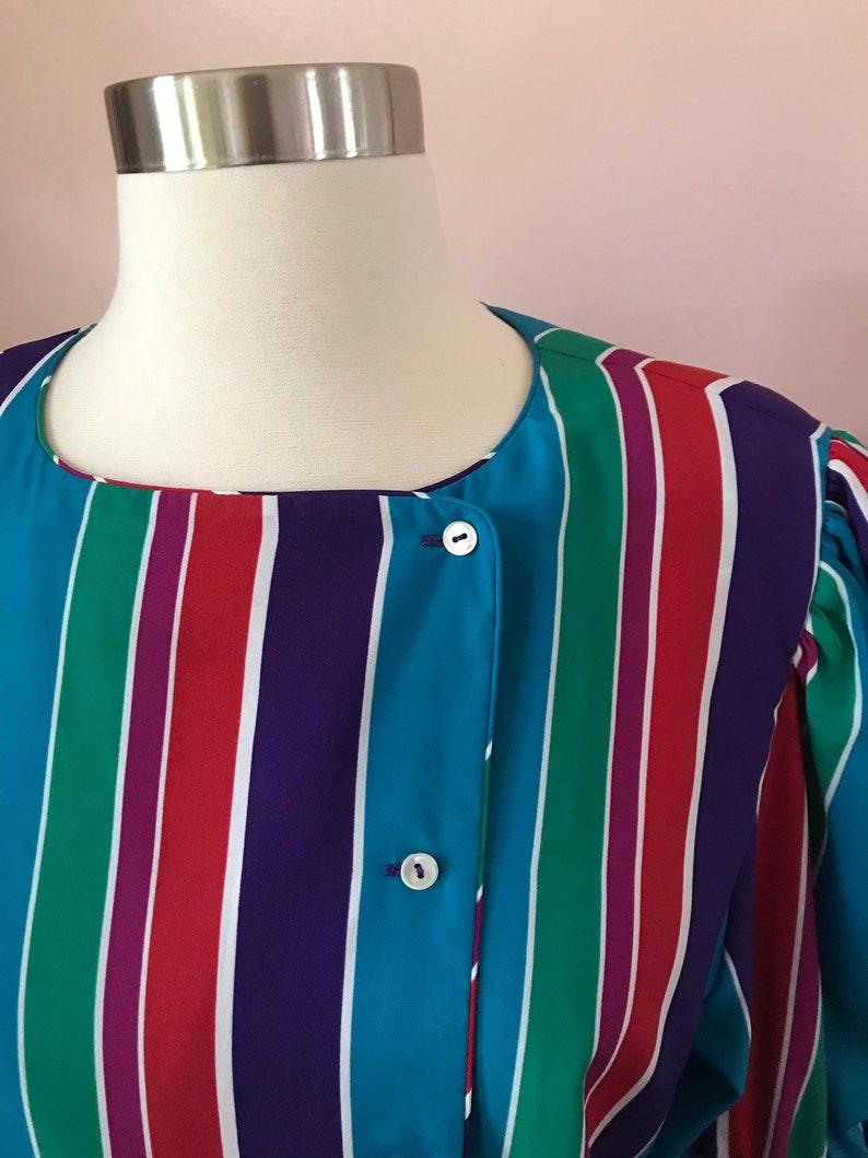 Vintage 1980s Liz Claiborne Rainbow Multicolored Striped Blouse Size 12