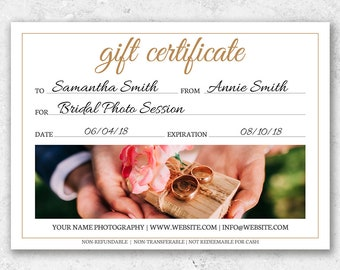 Photography Gift Certificate Template, Wedding Photography Template, Gift Voucher, Marketing Template Photography Digital or Print Gift Card
