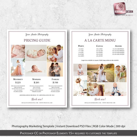 Photography Pricing Guide Template, A la Carte Menu, Maternity Pricing  Template, Newborn Price List Template, Photo Session, Family Sessions