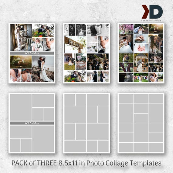 Collage Templates 85x11 In Photography Template Pack Photo Etsy
