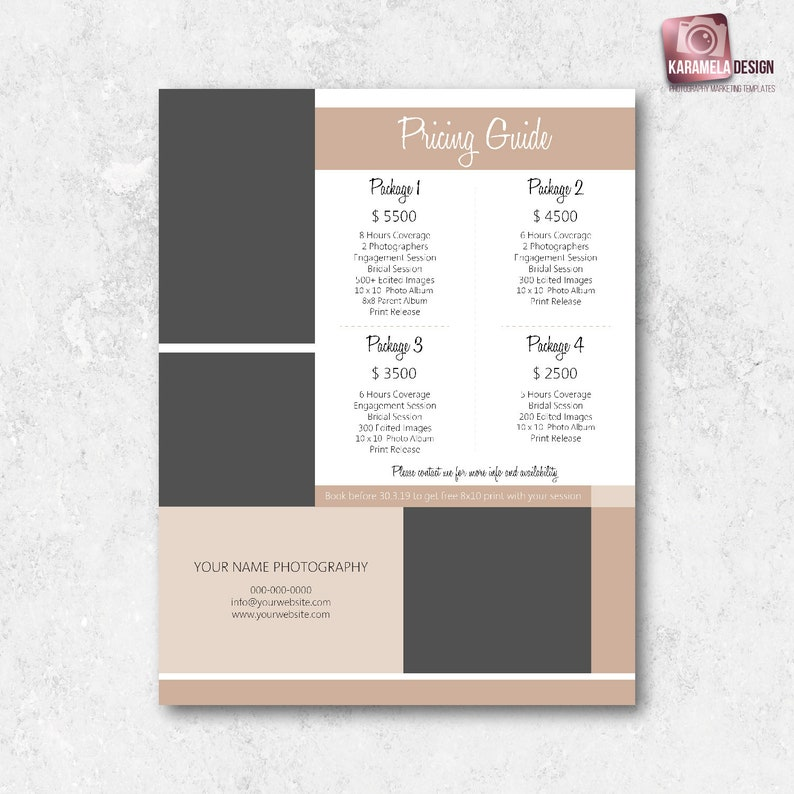 Wedding Pricing Template Wedding Packages Photography Packages Marketing  Template Wedding Price Sheet Photography Price List Template