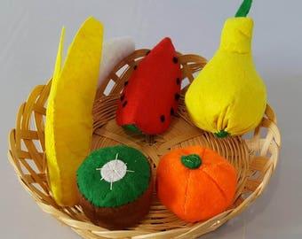 Set of 5 fruit felt tea - party - food market