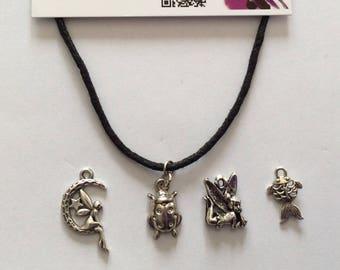 "Necklace cord black ""fairy on Moon"" - Ladybug, fairy, fish"