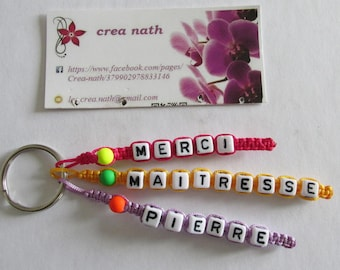 """Personalized Keychain 3 strands to choose name """"thank you teacher stone"""""""