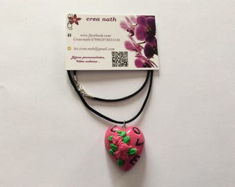 heart polymer clay necklace-