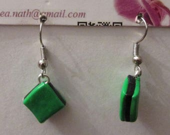 earring type polymer square licorice candy