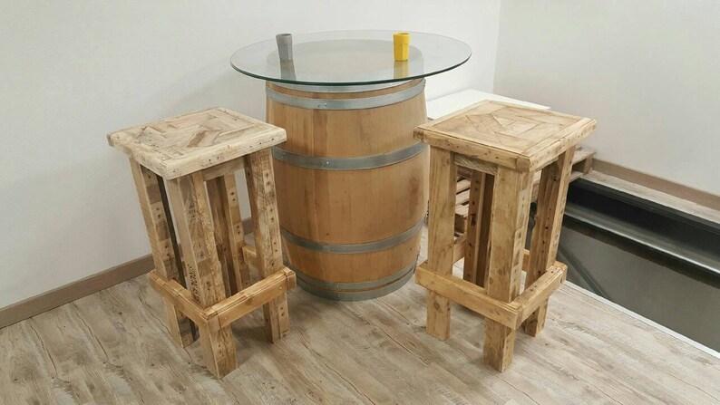 Sgabello da bar tavolozza in legno riciclato etsy