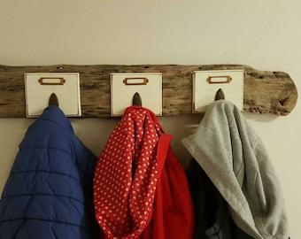 Adult coat rack / kids Driftwood 3 hooks