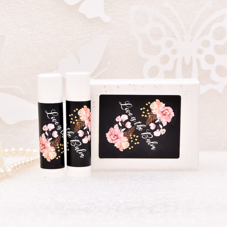 30 Gloss Rose Party Favor Chapstick Labels Love is.. Floral Lip Balm Labels Stickers