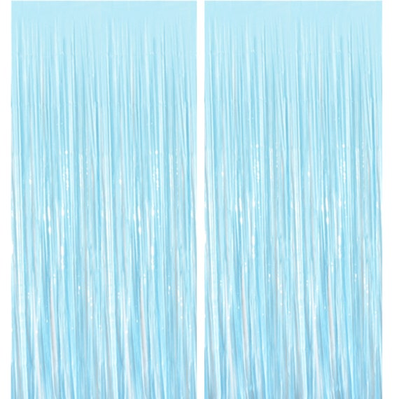 2 Baby Blue Foil Curtain Tinsel Photo Backdrop Etsy