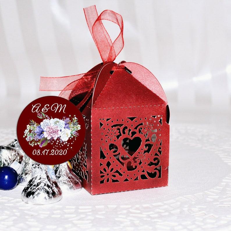 Wedding Laser Cut Out Favor Boxes Kit Burgundy Favor Box with Personalized Kisses Labels Wedding Favor Box