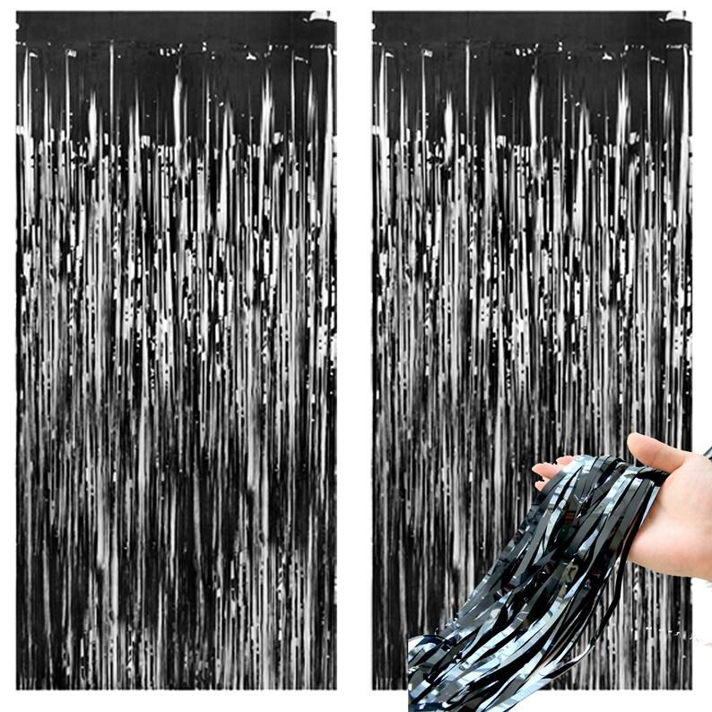 2 Black Foil Curtain Tinsel Backdrop Black Foil Wedding Birthday Decor