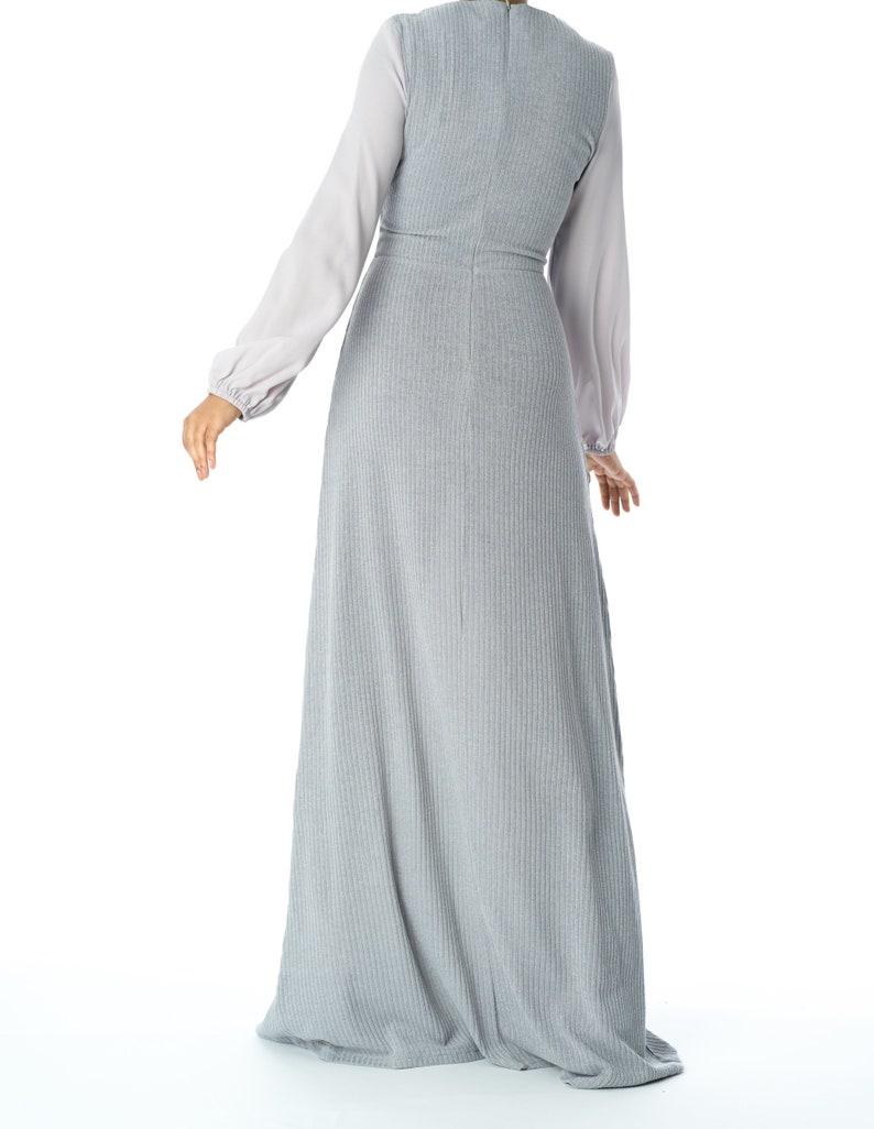 Chiffon shoulder detail ribbed maxi dress