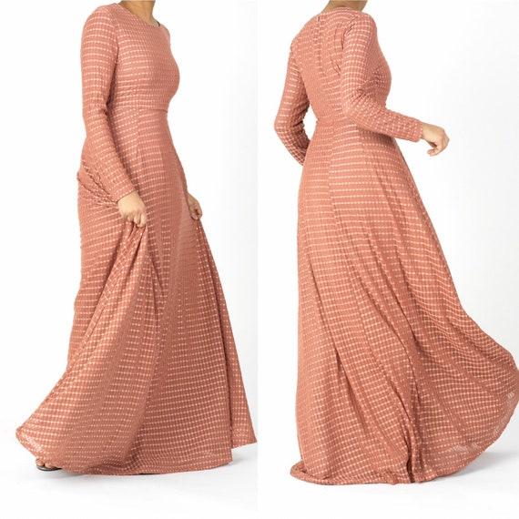 Tulle Mauve A line maxi dress , Long sleeve modest dresses, maxi dress, maxi dress with sleeve.