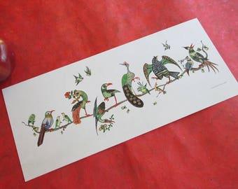 Vintage Mahjong Birds on a Branch Print