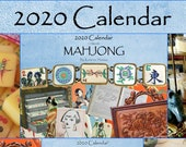 2020 Wall Calendar, Vintage Mahjong Tiles, Boxes, Accessories, Full Year