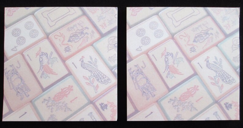Enrobed Tiles Two Sets of a Pen and Sticky Note Pad ~ Inspired by Vintage Mahjong Tile Designs