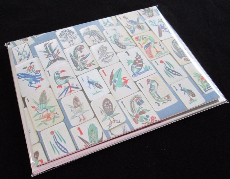 Set of Four Mahjong Stationery Cards /& Four Envelopes ~ Inspired by Vintage Mahjong Tile Designs ~ Note Cards