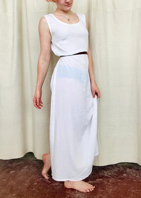 Vintage White Rayon Maxi Dress Size Small/Medium S