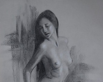 Aubrey / original charcoal drawing / nude