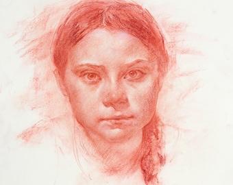 Greta | Portrait in Sanguine