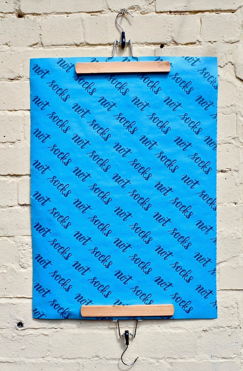 Blue wrapping paper  Funny gift wrapping  hand stamped paper image 0