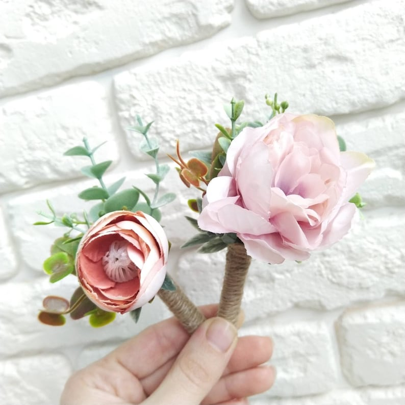 Peony and eucalyptus crown Pink blush wedding flower crown Bridesmaid eucalyptus crown Wedding flower crown Greenery hair comb Boutonniere