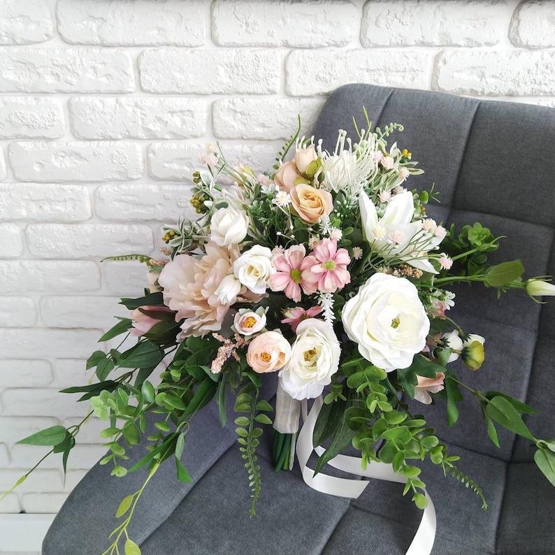 Peach white bridal bouquet Wild flower bouquet Peony bride/'s bouquet Peach peony bouquet Spring summer wild  greenery bouquet Rustic wedding