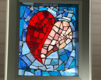 Stained Glass Mosiac Window with Red Heart and Blue Background