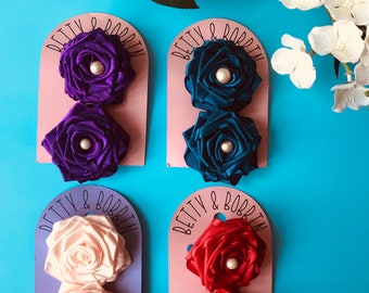 Handmade Ribbon Roses Hair clips (pair)