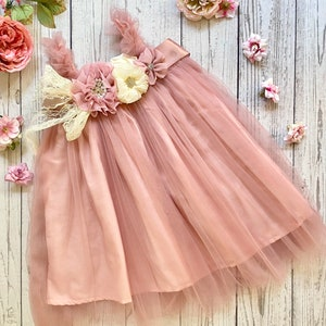 and Mint Green Vintage Roses Garden Party Tea Party Theme Birthday Ribbon Trim Tutu Outfit in Gold Light Pink