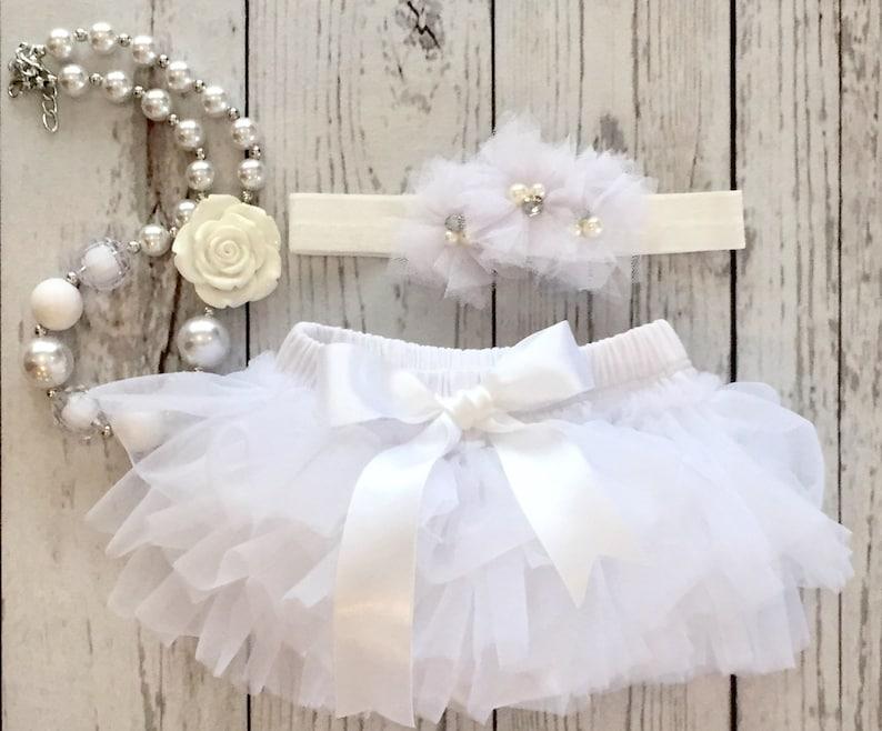 Little Angel in White Baby Tutu Bloomer with Headband and Necklace in White Cake Smash Newborn Photo Shoot Baby Girl Newborn