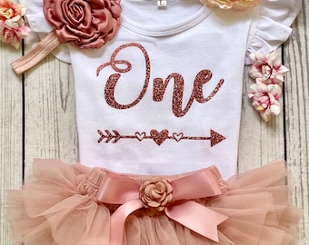 One -  Baby Girl First Birthday Outfit  -  Glitter Rose Gold & Dusty Pink Tutu - Birthday Photos - Baby Tutu - Cake Smash Outfit