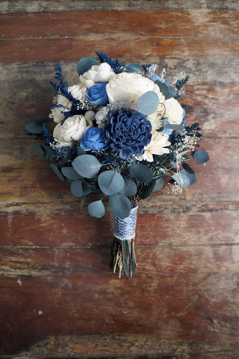 Blue Silver and White Sola Flower Bouquet Starry image 0