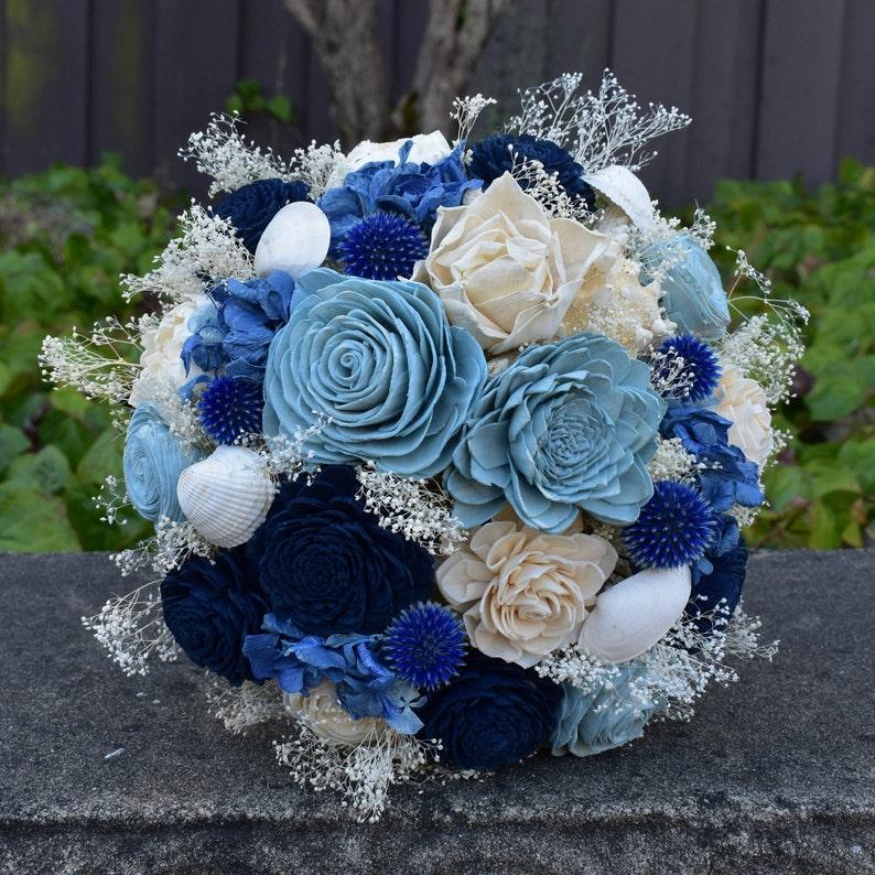 Wood Flower Bouquet and Slate Sola Flower Bouquet Nautical Blues Wedding Bouquet Gift for Her  Bridal Blue Ivory Keepsake Bouquet