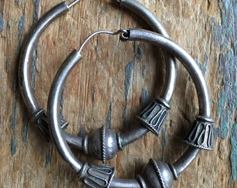 Large Hoop Tribal vintage earrings with ball accents sterling silver 925