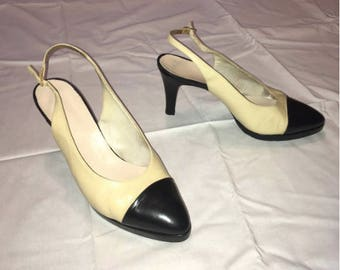 bd7272ce93 Chanel Sling Back Pumps with Cap Toe SIZE 38