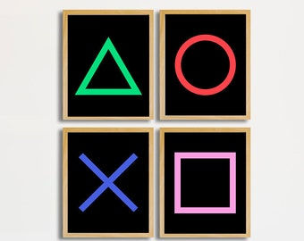 e38a40d04 Video game decor, Gamer Prints, Gamer room decor, Kids Wall Art, Joystick  print, Video Game Party, Playstation Buttons, Gaming Room wall art