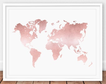 World map print etsy rose gold map rose gold decor world map print map printable rose gumiabroncs Image collections