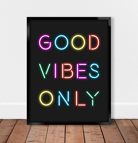 Positive Vibes Only Rainbow Quote Print