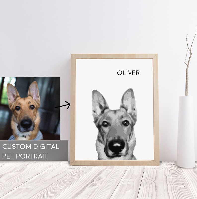 Artistic Creations from Your Photo Animal Portrait Gallery Wrapped Canvas or Paper Print Custom Black /& White Pet Portrait