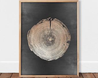 Wall art wood, Gold tree ring, Gold decor, Tree stump print, Tree rings, Wood slice printable, Modern woodwork Metal tree Gold and Black