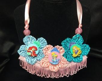 Crochet Girl's Disney Necklace & Bracelet