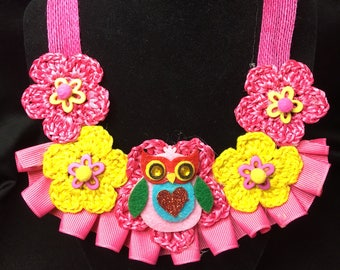 Crochet Girl's Flowers & Owl Necklace