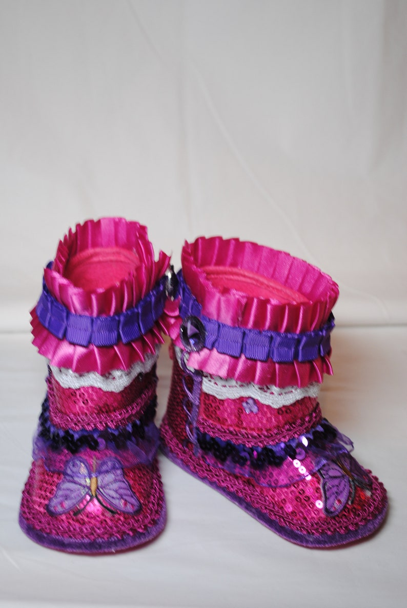 d01afe43aa27a Red & Purple Girl's Boots, Size 3-3.5 (6-9 months)