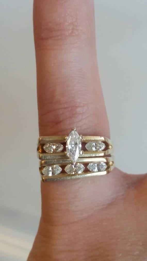SALE - Keepsake 14k Gold Wedding ring set