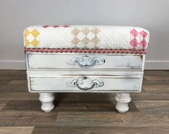 Antique Quilt Drawer Footstool